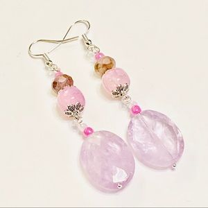 Pretty Lavender Quartz Crystal & Agate Earrings